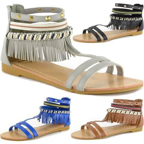 Alpine Swiss Womens Beaded & Studded Fringe Flat Gladiator Sandals