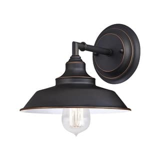 Buy farmhouse wall lights online at overstock our best westinghouse 63435 48 iron hill 1 light indoor wall fixture oil rubbed bronze aloadofball Image collections