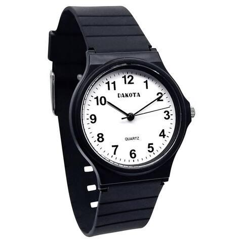 Dakota Easy Clean Basic Plastic PVC Midsize Analog Wrist Watch, 34mm