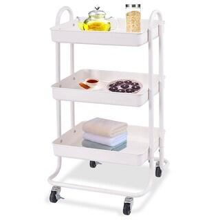 Costway 3-Tier Steel Rolling Kitchen Trolley Cart Storage Kitchen Serving Island Utility - ivory
