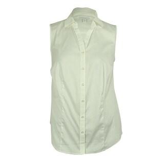 Charter Club Women's Sleeveless Button Down Shirt