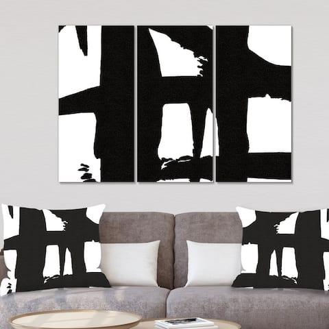 Porch & Den 'Black & White Crossing Paths II' Modern Canvas Artwork Print