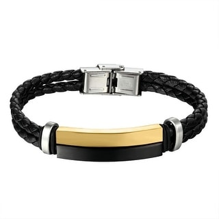 Mens Designer Bracelet Leather Wristband Gold & Black Tone Over Stainless Steel Bar