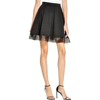 Aqua Womens Pleated Skirt Mixed Media Mini