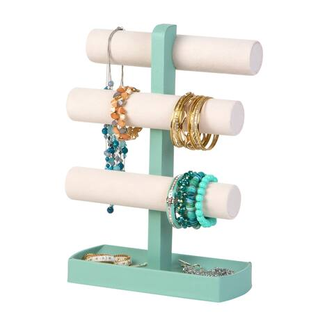 Jewelry Bangle Bar Stand Towers with Scoop, Porcelain Blue