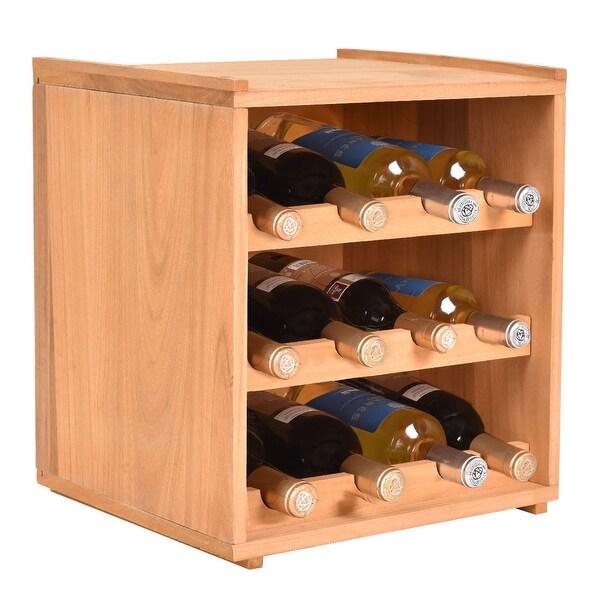 Shop Costway 3 Tiers 12 Bottle Wood Wine Rack Storage Cabinet
