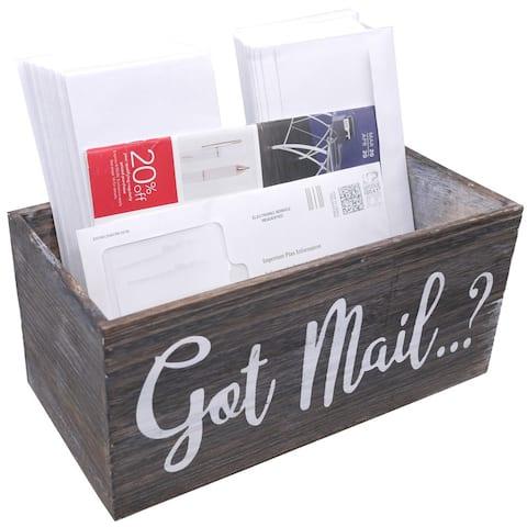 ABN5E155-NTRL Got Mail Decor Box, Wooden Mail Box Sign, Brown