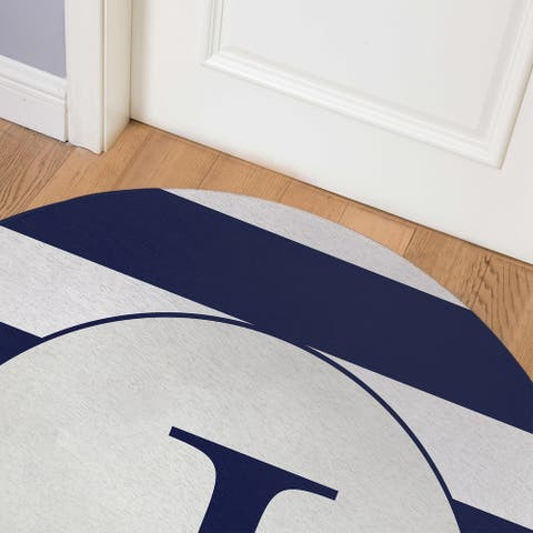 MONO NAVY STRIPED J Indoor Floor Mat By Kavka Designs