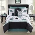 Elyse 8-Piece Comforter Set in Aqua/Black - Thumbnail 0