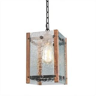 Foyer water glass wood kitchen island pendant light