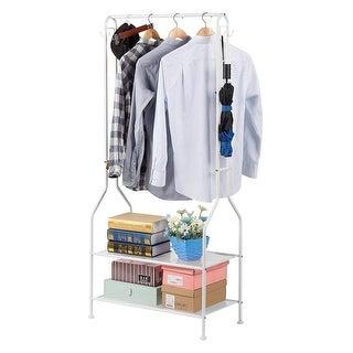 LANGRIA Heavy Duty Metal Coat Rack, 2-Tier Shoe Garment Organizer Shelving, White