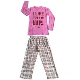 Women Cotton Top & Fleece Lined Pants Pajamas Set (Pink)