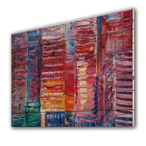 Designart 'Red Matrix With Touches Of Blue' Modern Print on Natural Pine Wood