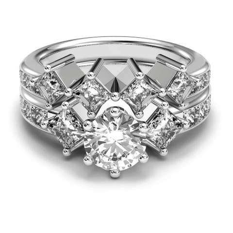 14K White Gold 3.10 CT Channel Round & Princess Diamond Bridal Set