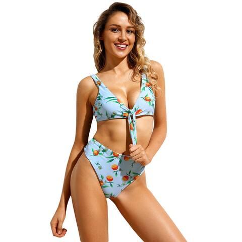 Cali Chic Women's Two Piece Swimsuit Celebrity Light Blue Floral Print Tie Front High Waist Bikini