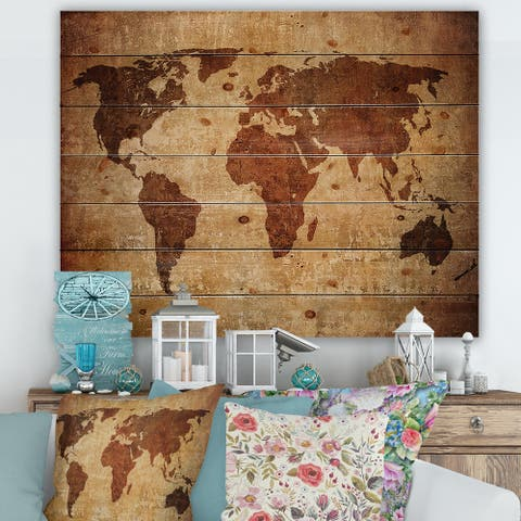 Designart 'Ancient Map of The World XI' Vintage Print on Natural Pine Wood
