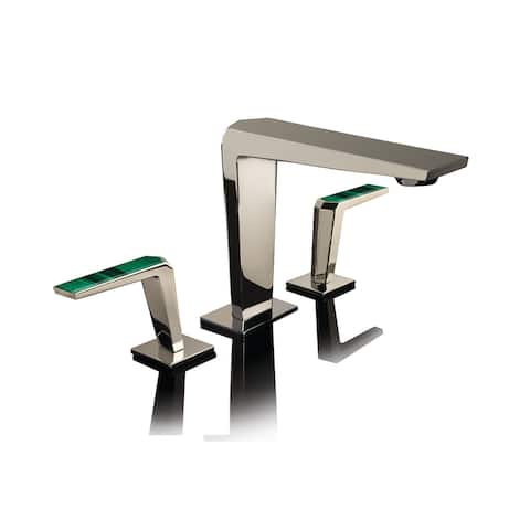 Altmans Limited Widespread Lavatory Set Malachite Polished Nickel