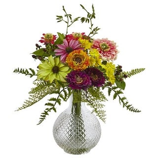 Nearly Natural Home Decor Mixed Flower in Glass Vase