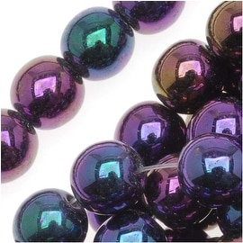 Czech Glass Druk Round Beads 6mm Purple Iris (50)