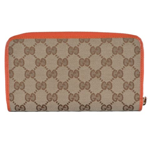 Gucci 363423 Beige Orange GG Guccissima Canvas Zip Around Wallet Clutch