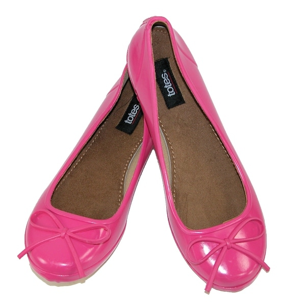 Totes Women's Solid Print Waterproof Slip On Flat Rain Shoes