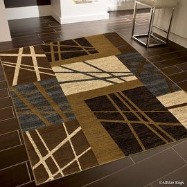 "Allstar Brown High End Drop Stitch Woven Lines Area Rug (5' 2"" x 7' 2"")"