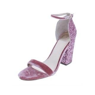 Guess Womens Bam Bam Block Heels Glitter Open Toe