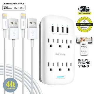 Overtime Socket Shelf 10 Port Wall Mount Surge Protector w/ Two 4 Ft Apple MFi Lightning Cable - 2 Cables
