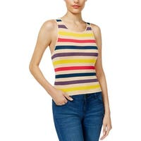 Guess Womens Brit Tank Top Sweater Striped Ribbed