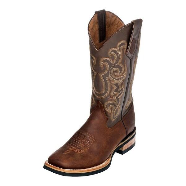Ferrini Western Boots Mens Maverick Leather Square Toe Brown