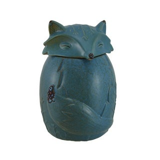 Blue Ceramic Fox Cookie / Treat Jar - 7.5 X 5 X 5 inches