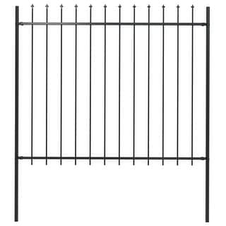 """Link to vidaXL Garden Fence with Spear Top Steel 66.9""""x59.1"""" Black Similar Items in Yard Care"""