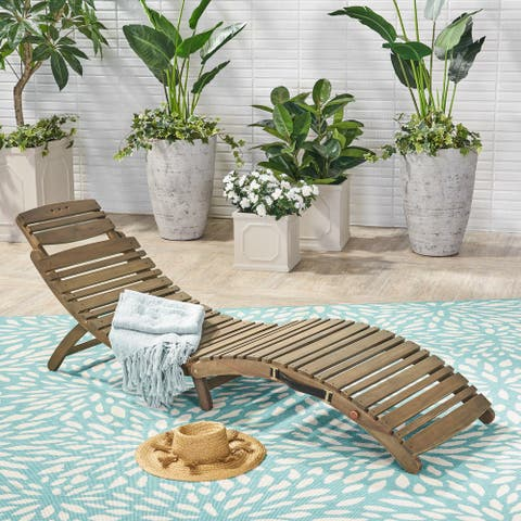 Lahaina Acacia Wood Outdoor Chaise Lounge by Christopher Knight Home