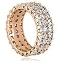 4.85 cttw. 14K Rose Gold Round Diamond Three Row Eternity Ring - Thumbnail 1