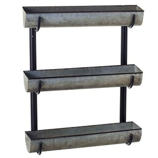 Set of 2 Black and Gray Distressed Finish Small Three Tier Wall Planter 29""