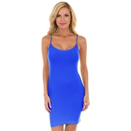 BLUE Womens Seamless Long Stretchable Camisole Slip Dress