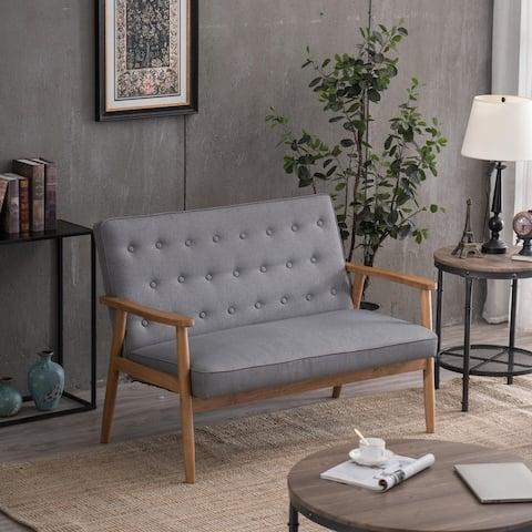 Mid-Century Double Sofa Retro Modern Accent Wooden Armchair Gray
