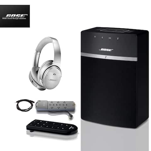 Bose SoundTouch 10 (Black) + QuietComfort Headphones + 2 pc Acc Bundle