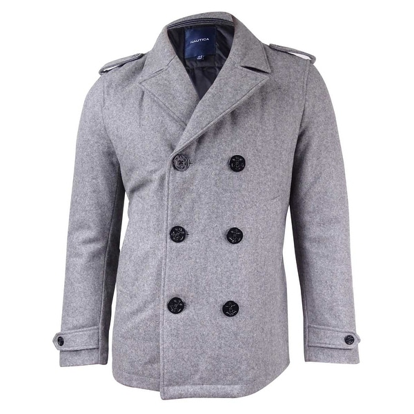 4d0ad8f12e Shop Nautica Men's Military-Inspired Peacoat - Grey Heather - Free Shipping  Today - Overstock - 17620802