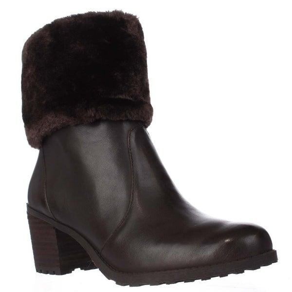 Aerosoles Incognito Faux Fur Cuff Winter Ankle Boots, Dark Brown