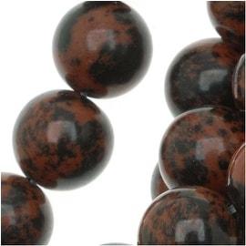 Mahogany Obsidian Round Beads 8mm Diameter 15.5 Inch Strand