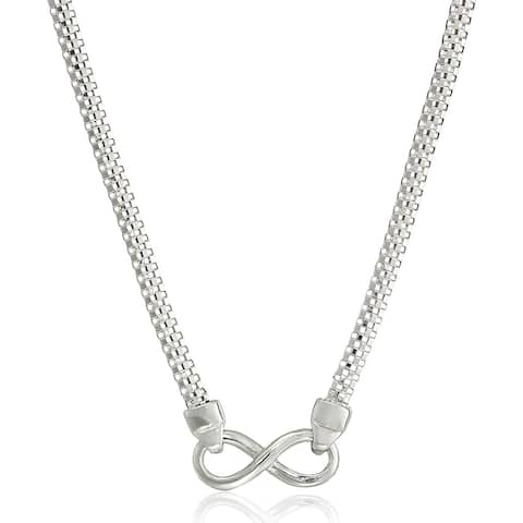 Infinity Popcorn Chain Necklace in Sterling Silver - White