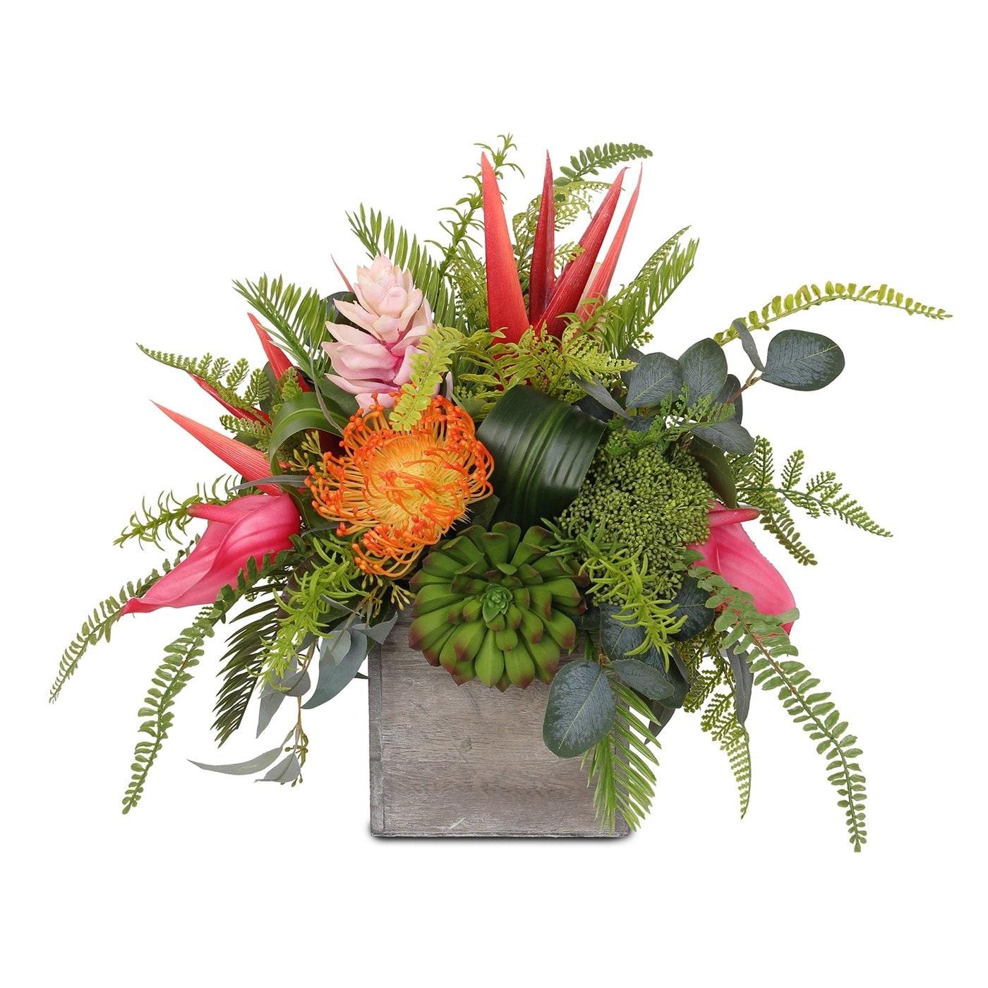 Assorted Tropical Flowers And Greens Silk Flower Arrangement In Pot 13w X13d X 15h Overstock 31444968