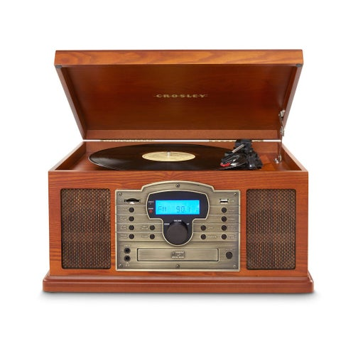 Crosley Troubadour Music Center -Turntable Cassette CD Player AM/FM Radio AUX - 18 in. x 10 in. x 14 in.