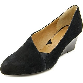 Adrienne Vittadini Marcio Women Open Toe Suede Black Wedge Heel