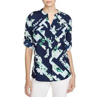 Calvin Klein Womens Button-Down Top Sheer Floral Print