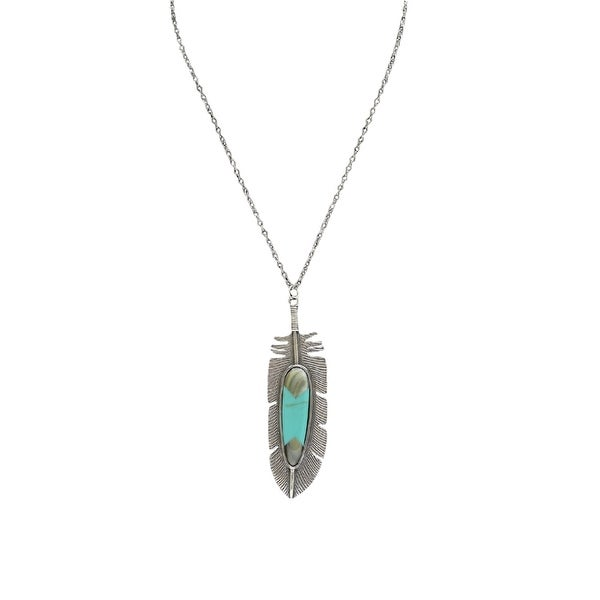 "LoulaBelle Jewelry Women Necklace Feather 32"" Silver Turquoise LN5722T - silver turquoise"