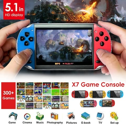 """Coutlet X7 8G ROM PSP Console Hand Game Machine Console 5.1"""" Screen Free 300 Built-In Games - Red-Blue"""