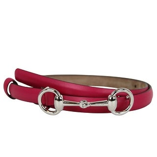 Gucci Women's Fuchsia Leather Horsebit Thin Skinny Buckle Belt (85 / 34)