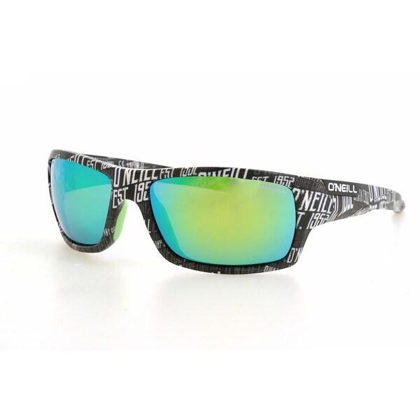 0962c879681 O  x27 NEIL Barrel Matte Black Text Pattern Polarised Lime Mirror Sunglasses  - Shiny